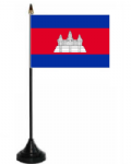 Cambodia Desk / Table Flag with plastic stand and base.